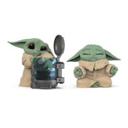 Pack Baby Yoda figuritas, curioso y meditando, The Mandalorian