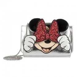Bolso bandolera lazo Minnie plateado, Disney