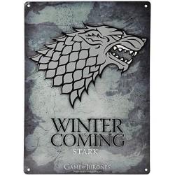 Placa metal Stark, Winter is Coming, Juego de Tronos