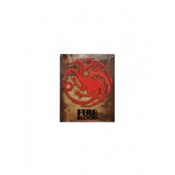 Placa maetal Fire and Blood, Juego de Tronos