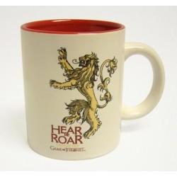 Taza Lannister blanca y roja, cerámica, Juego de Tronos