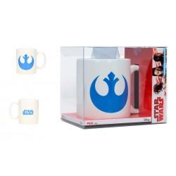 Taza símbolo Rebelde, blanca y azul, Star Wars
