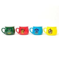 Set 4 tazas, escudos casas Hogwarts, Harry Potter