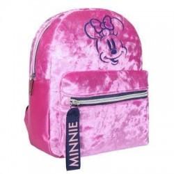 Mini mochila Minnie terciopelo rosa, Disney