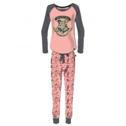 Pijama Hogwarts adulto rosa y gris, Harry Potter