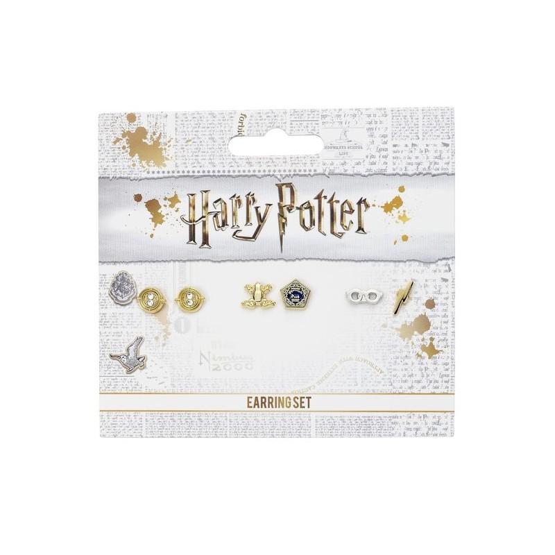 Set de 3 pendientes - Harry Potter - Giratiempos, Rana de chocolate, gafas, rayo