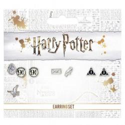 Set de 3 pendientes - Harry Potter - Plataforma 9 3/4, reliquias de la muerte, carta, lechuza
