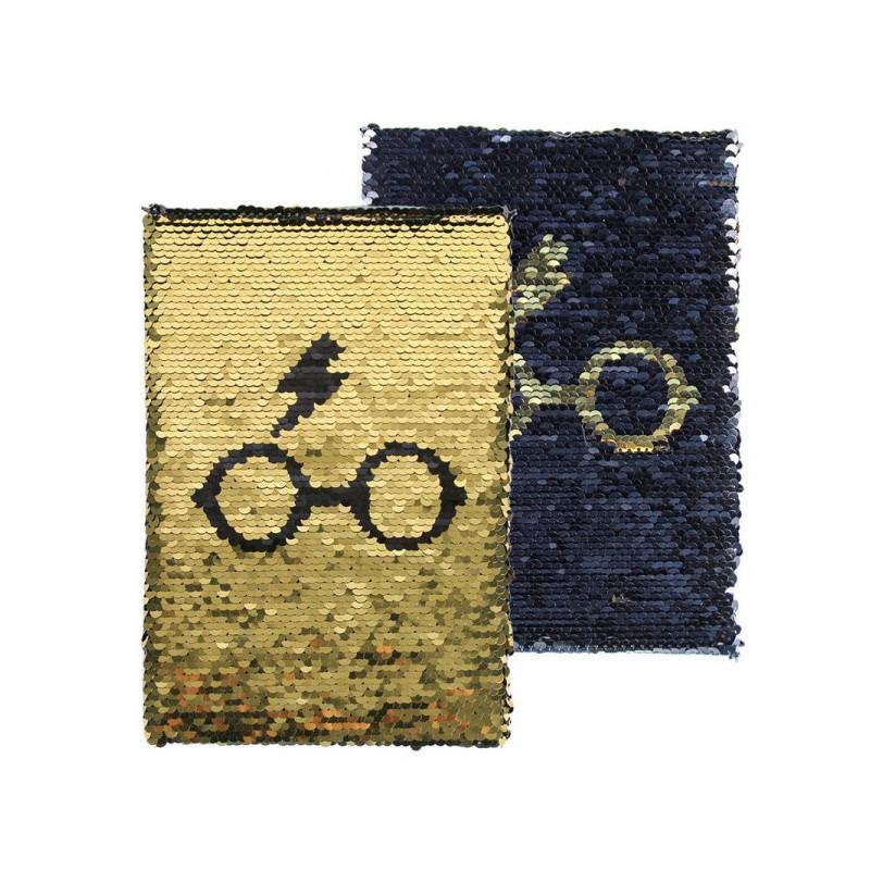 Libreta premium Harry Potter lentejuelas (dorado y negro)