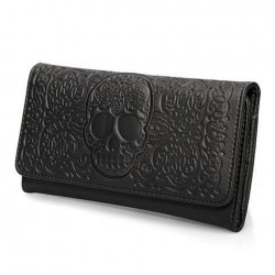 Cartera Negra calavera relieve