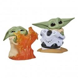 Pack Baby Yoda figuritas, fuego y Casco, The Mandalorian